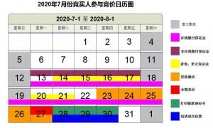 2020年7月广州车牌竞价日历图