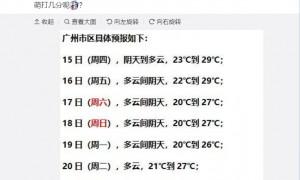 2020年10月15日广州天气多云间阴天22℃~29℃