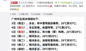 2020年7月3日广州天气有中雷雨局部暴雨26℃~33℃