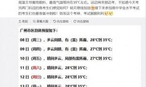 2020年7月8日广州天气晴间有阵雨28℃~35℃