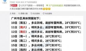 2020年7月10日广州天气局部有雷阵雨29℃~35℃