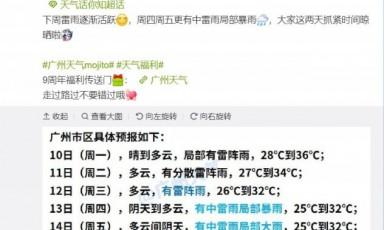 2020年8月10日广州天气有分散雷阵雨27℃~36℃