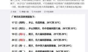 2020年9月17日广州天气多云有雷阵雨26℃~33℃