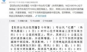2020年9月17日广东阳西台风白色预警信号生效中