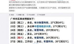 2020年9月22日广州天气有分散雷阵雨27℃~34℃