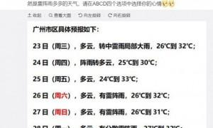 2020年9月23日广州天气有分散雷阵雨25℃~32℃