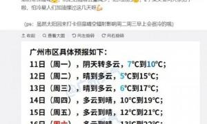 2021年1月11日广州天气局部有零星小雨5℃~10℃