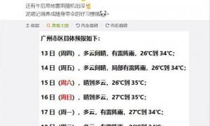 2021年5月13日广州天气有分散雷阵雨26℃~34℃