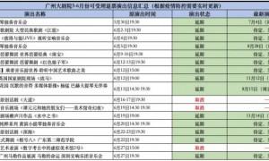 广州大剧院2021年6月演出延期或取消