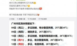 2021年9月8日广州天气有分散雷阵雨26℃~34℃