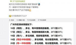 9月16日广州天气有中雷雨局部暴雨25℃~33℃
