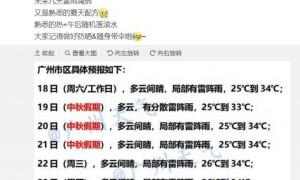 广州2021年9月21日中秋节会下雨吗?