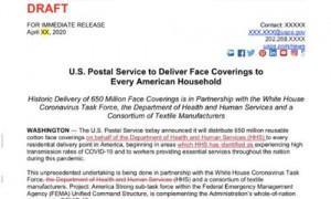美媒:邮政局曾计划给每户寄口罩 被白宫拦下