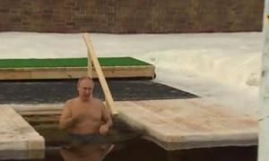 俄总统普京全身三次浸入冰水 完成节日洗礼仪式(图)