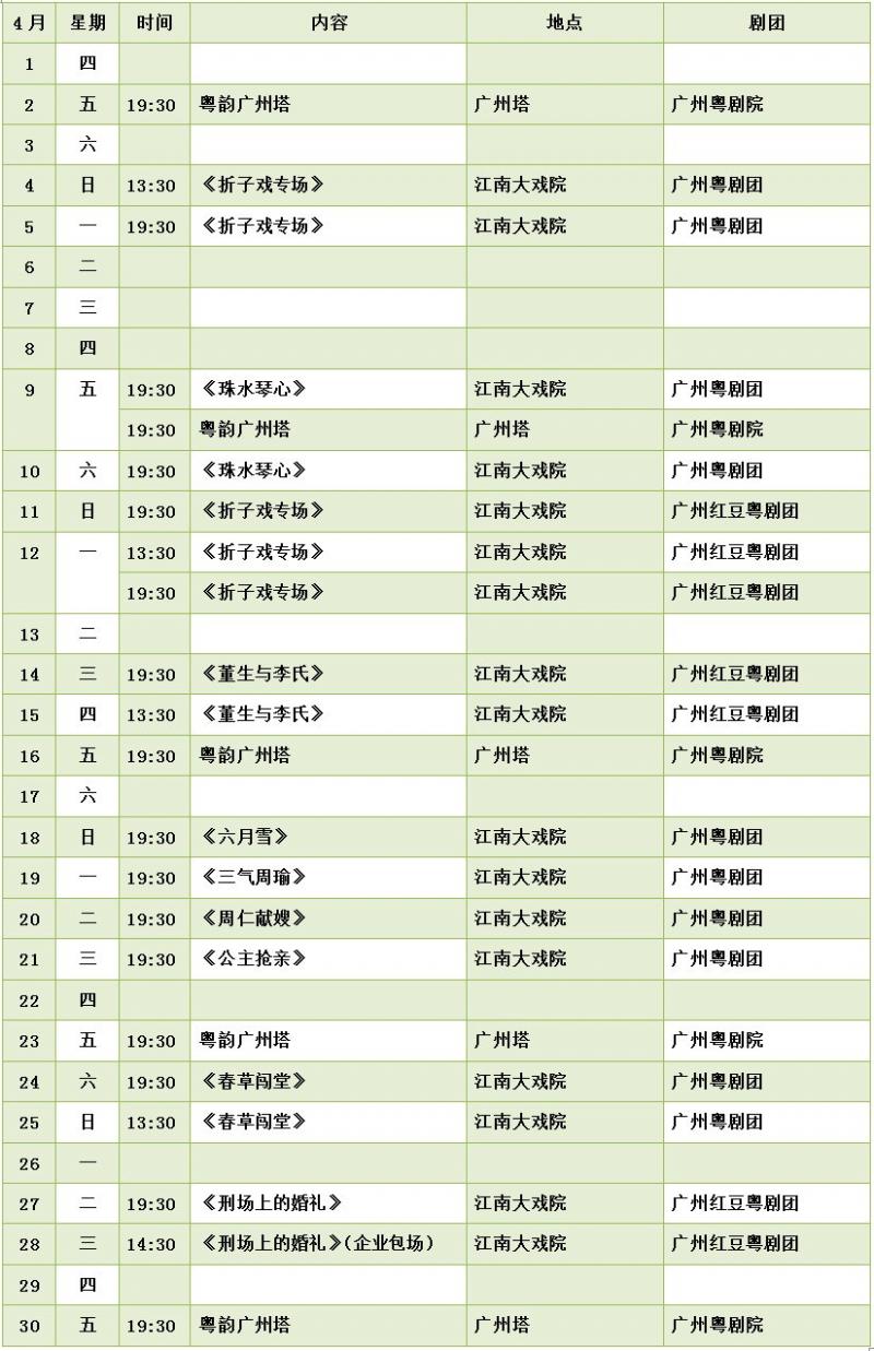 广州粤剧院2021年4月演出活动排期一览